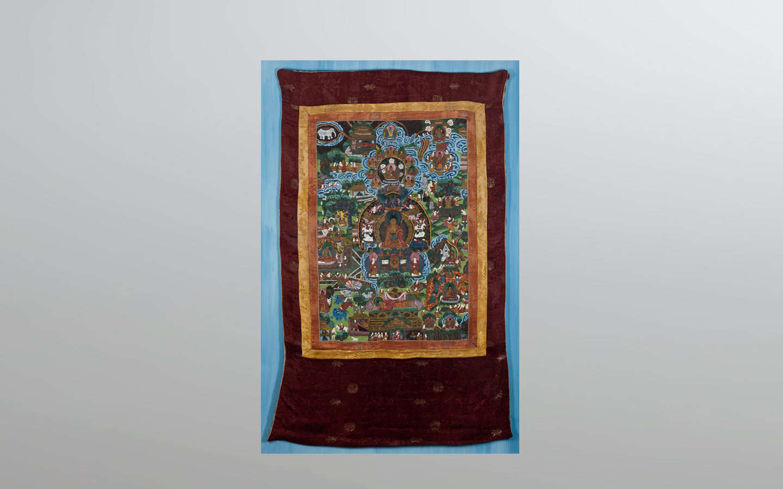 A TANGKA DIPICTING THE BUDDHA IN PARADISE